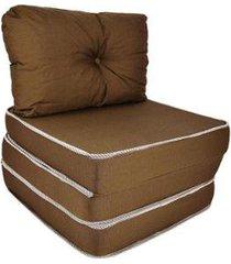 puff 3 em 1 poltrona sofá cama conforto fa maringá marrom