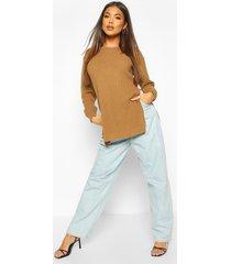 side split moss stitch tunic sweater, camel