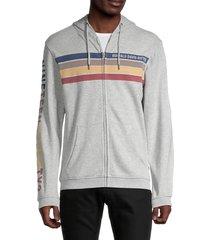 buffalo david bitton men's fast stripe zip-up hoodie - heather grey - size l