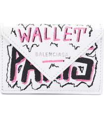 balenciaga mini papier wallet - white