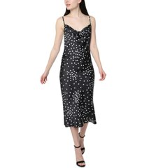 bebe satin polka-dot slip dress