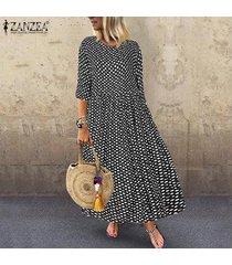 Zanzea Ocasional De Las Mujeres Del Club De Vacaciones De Playa Maxi Kaftan Vestido De Tirantes Polka Dot Vestido Largo Negro