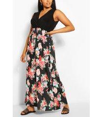 plus 2-in-1 bloemen maxi jurk, multi