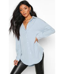 oversized soft touch denim shirt, light blue