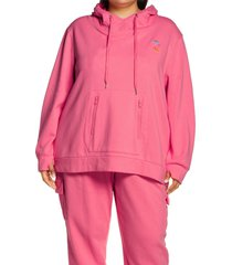 plus size women's juicy couture french terry hoodie with face mask, size 3x - pink