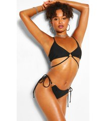 driehoekige bikini met ruches en bandjes, zwart