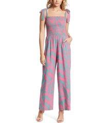 jessica simpson romie printed jumpsuit