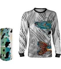 camisa + máscara pesca quisty pintado moleque branco proteção uv dryfit infantil/adulto - camiseta de pesca quisty