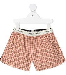 the new society arlette plaid print shorts - orange