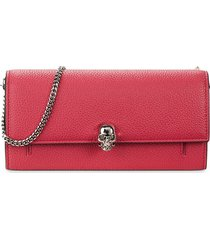alexander mcqueen women's pebbled leather wallet-on-chain - orchid pink