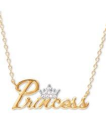 "disney cubic zirconia princess tiara 18"" pendant necklace in 18k gold over silver"
