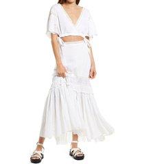 women's free people imogen two-piece dress, size medium - white