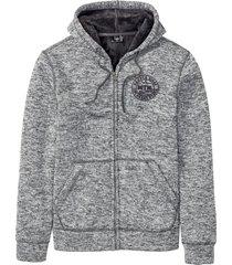 giacca in felpa con cappuccio e pellicciotto sintetico (grigio) - bpc bonprix collection