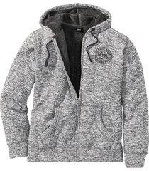 giacca in felpa con pellicciotto sintetico (grigio) - bpc bonprix collection