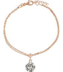 bracciale in argento 925 rosato e cristalli hematite per donna
