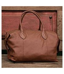 leather travel bag, 'let's go in camel' (mexico)