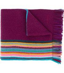 paul smith striped knit scarf - purple