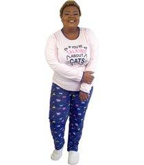"pijama feminino """"if you're talking"""" rosa e azul plus size"