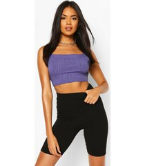 recycled strappy rib crop top, navy