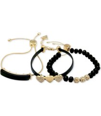 guess gold-tone 3-pc. set crystal, heart & bead faux leather slider bracelets
