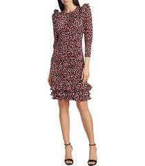 michael kors women's ruched leopard-print silk dress - crimson - size 2