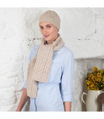 women's honeycomb aran hat & scarf set beige