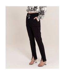 calça legging com amarração e fenda | blue steel | preto | pp