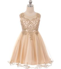champagne satin stretchable tulle bodice golden pattern gold rhinestone dress