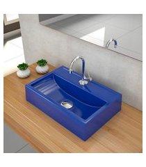 kit cuba para banheiro trevalla q45w torneira válvula 1 1/2pol azul escuro