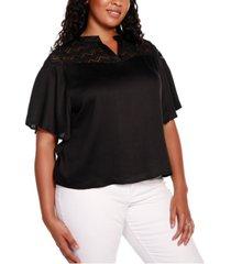 belldini black label plus size short sleeve split neck top with lace detail
