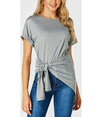 yoins grey self-tie diseño round cuello camiseta de manga corta