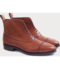 handmade mens tan brown cap toe leather ankle boots, ankle boots for mens