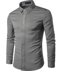 estilonegocios bordado ocultos botóndiseñador banda camisas