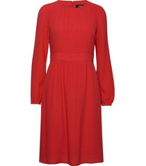 dress woven fabric knälång klänning röd taifun