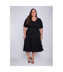 vestido plus size feminino lisamour com camadas preto
