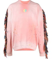alchemist logo-patch frayed sweatshirt - pink