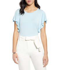 women's halogen flutter sleeve tee, size x-small - blue