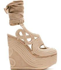 andrea bogosian poppy tied wedge sandals - neutrals