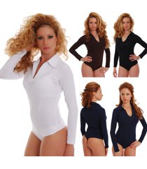 cotton women's bodysuit collar open neck long sleeve thong 1769 leotard body top
