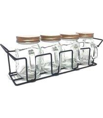 porta condimento 4 potes de vidro com tampa cobre e suporte 120 ml
