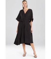 natori sanded twill dress, women's, black, size l natori