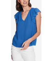 1.state smocked-shoulder ruffled top