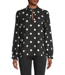 karl lagerfeld paris women's polka dot-print ruffled top - black white - size m