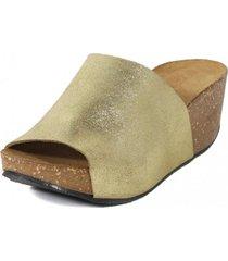 sandalia  brillo oro nara