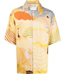 drôle de monsieur croisette beach riviera-print shirt - neutrals