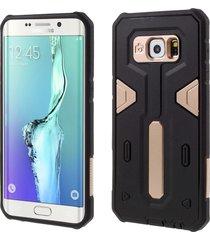 pc tpu hybrid phone case for samsung galaxy s6 edge plus g928 - gold