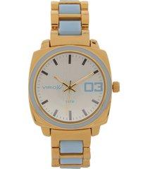 reloj dorado-azul virox