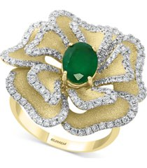 effy emerald (1-1/6 ct. t.w.) & diamond (1-1/20 ct. t.w.) flower statement ring in 14k gold
