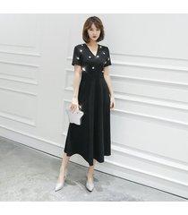 mediados de becerro vestidos de dama vestido con cuello en v sólido 2019