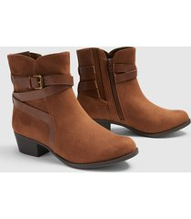 lane bryant women's dream cloud faux-suede strappy bootie 12w cognac
